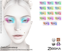 Zibska ~ Delia Eyemakeup in 14 colors with Lelutka, Catwa and Omega appliers, tattoo & universal tattoo BOM layers
