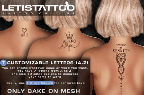 Letis Tattoo :: 7 CUSTOMIZABLE CHARACTERS (A-Z) ::