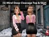 [S] Mirel Deep Cleavage Top & Skirt Pink