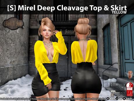 [S] Mirel Deep Cleavage Top & Skirt Yellow