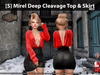 [S] Mirel Deep Cleavage Top & Skirt Red