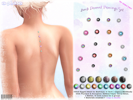 [ bubble ] Back Dermal Piercings Set