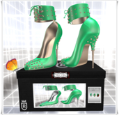 Ankle Heels with Spikes and Cords green Color HUD,Maitreya,Belleza,Slink