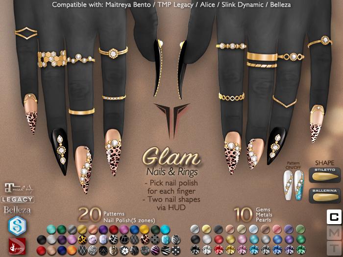 **RE** Glam Nails & Rings Set  - Maitreya - SLink Dynamic - Belleza - Alice - Legacy