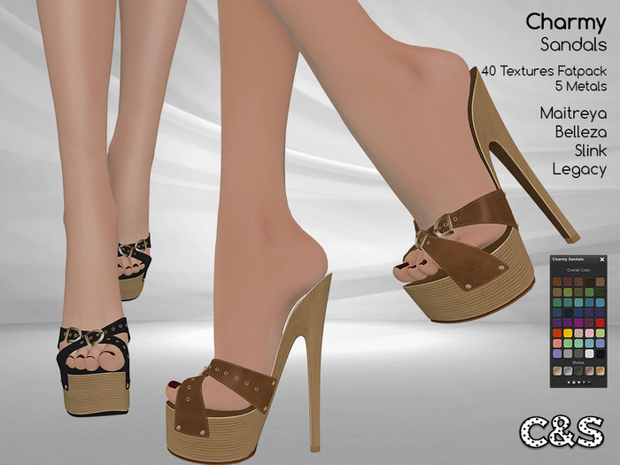 C&S Charmy Sandals for Maitreya Lara, Slink High, Belleza and Legacy. 40 Textures HUD.