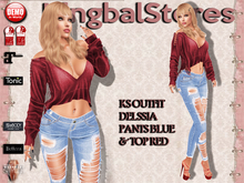 150 KS OUTFIT DELSSIA PANTS BLUE & TOP RED