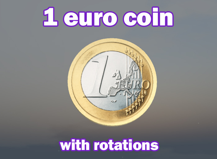 1 euro coin with rotations
