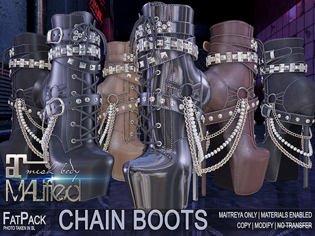 FATPACK: buy all 6 colors for the price of 4 - MALified 6x Chain Boots: Maitreya Only