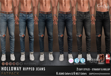 {COLD-ASH} Mens MESH HOLLOWAY Ripped Jeans (Fatpack)