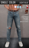 {COLD-ASH} Mens HOLLOWAY Ripped Jeans (Light Blue-SingleColor)