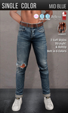 {COLD-ASH} Mens HOLLOWAY Ripped Jeans (Mid Blue-SingleColor)