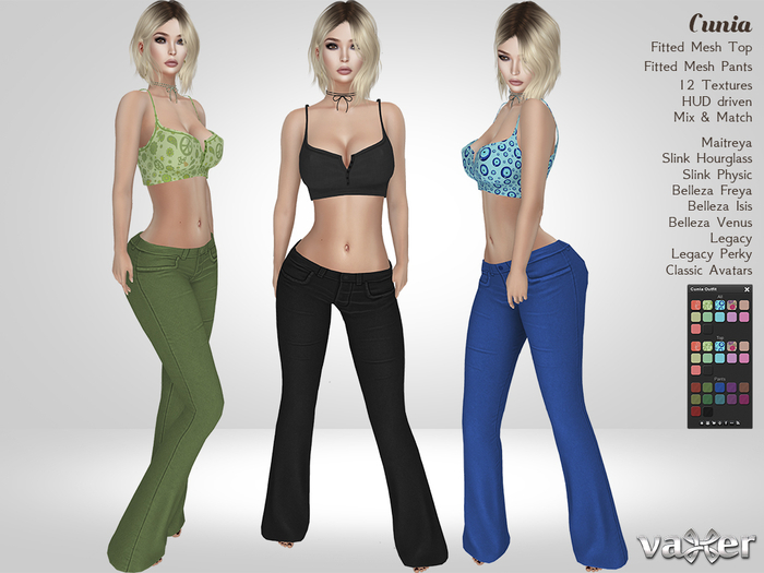 Vaxer : Cunia Outfit- Maitreya, Slink (P, H), Belleza (V, I, F), Legacy and Classic Avatars . 12 Text.