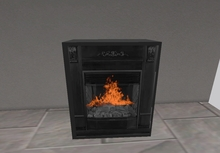 Cast iron woodstove with flame