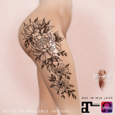 APOLLEMIS Tattoos Thigh floral composition