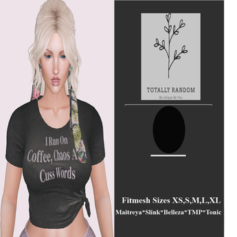 =TR= Hanger Coffee and Cuss words knotted Tshirt Maitreya Basic Tonic Belleza Slink