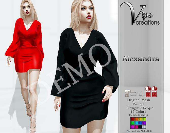 [Vips Creations] - DEMO-Original Mesh Dress - [Alexandra]FITTED