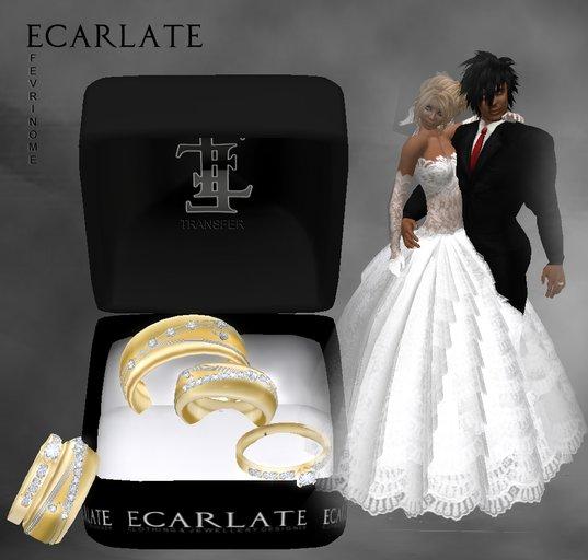 Ecarlate - Alliance Women/Men + Engagement Ring- Gold - Fevrinome