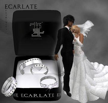 Ecarlate - Alliance Women/Men + Engagement Ring- Silver - FevriMery