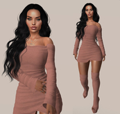 Nude leather Dress&Boots for Maitreya Lara