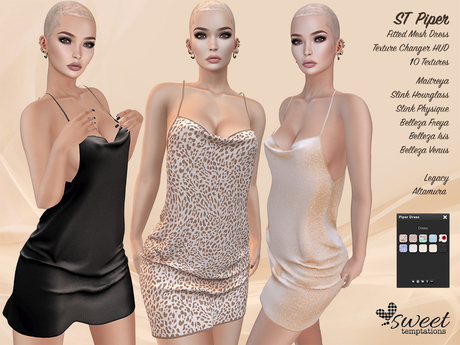 ST :: Piper Dress for Maitreya Lara, Slink (P, H), Belleza (V, I, F), Legacy and Altamura. 10 Text HUD