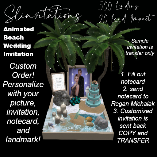 Slinvitations Custom Animated Beach Wedding Invitation