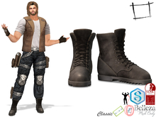 Full Perm Full Brown Leather Combat Boots Slink Male, Belleza Jake, Signature Gianni