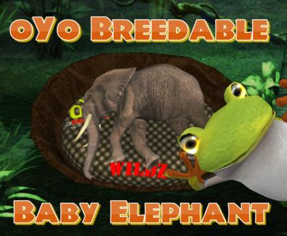 oYo Breedable Elephant Bundle: M Gray Elephant with Topaz Eyes