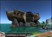 HeadHunter's Island - Beached Shipwreck Home/Shelter  - 172+ animations - fruit bar - tropical castaway fun- ship - MESH
