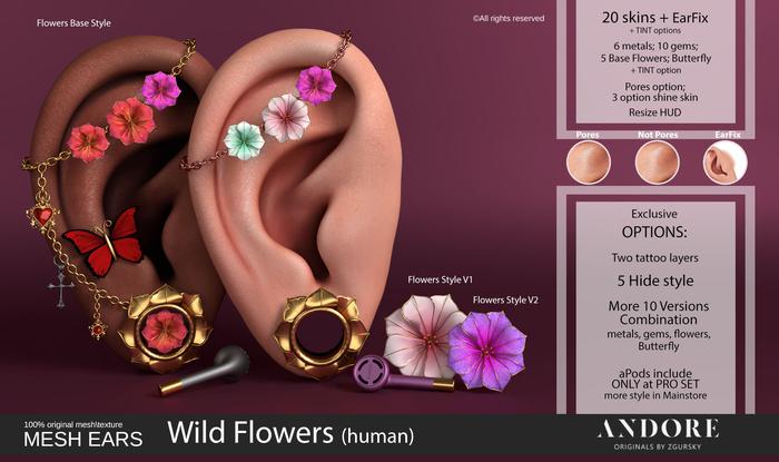 :ANDORE: - :Mesh Ears: - Wild Flowers [Human] [PRO]