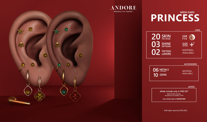 :ANDORE: - :Mesh Ears: - Princess [PRO]