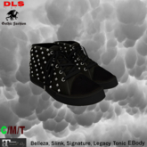 Sneakers flat feet all black rivets silver female boxed
