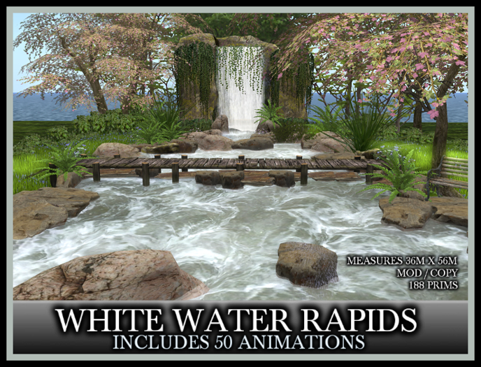 TMG - WHITE WATER RAPIDS* SUMMER Landscaped Waterfall Garden with 50 Animations