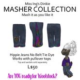 Miss Ing's Dinkie Hippie Jeans No Belt Tie Dyed