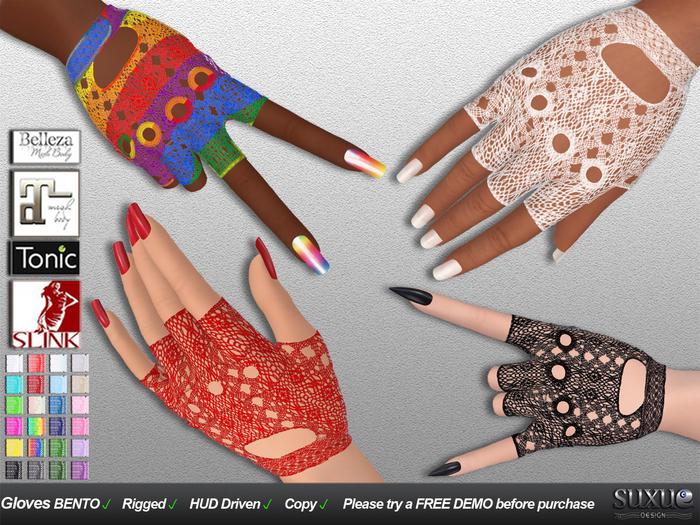 [SuXue] FATPACK Sarah Bento Rigged Gloves Lace Maitreya Belleza Venus Isis Freya Tonic Fine Curvy Hud 24 Colors R & L