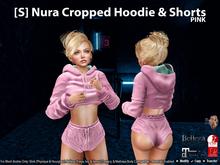 [S] Nura Cropped Hoodie & Shorts Pink