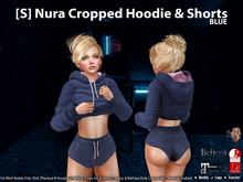 [S] Nura Cropped Hoodie & Shorts Blue