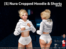 [S] Nura Cropped Hoodie & Shorts White