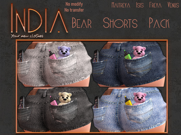 ## India ## Bear Shorts - Fat Pack