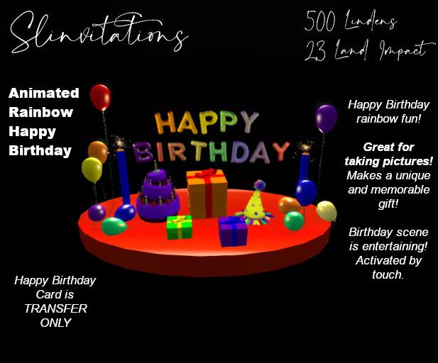 Slinvitations Animated Rainbow Happy Birthday Card