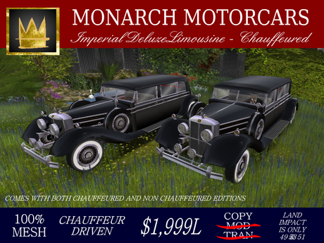 Monarch Imperial DeLuxe Black Chauffeured Collection (BOXED)