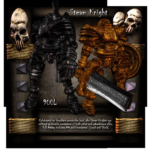 [LH] Steam Knight - A Steampunk Sentinel -  Full Construct / Robot Avatar with AO, Sword and Shield!  BLACK COLOR