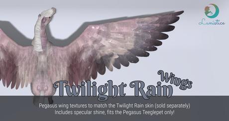 Lunistice: Twilight Rain - Pegasus/Alicorn Teeglepet Wings