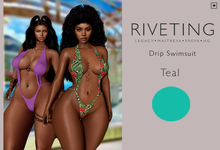 **Riveting ~ Drip Swimsuit {Teal} {Add}