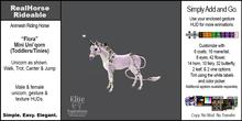 *E* RealHorse Rideable - Flora Unicorn Mini  [Add & Click]
