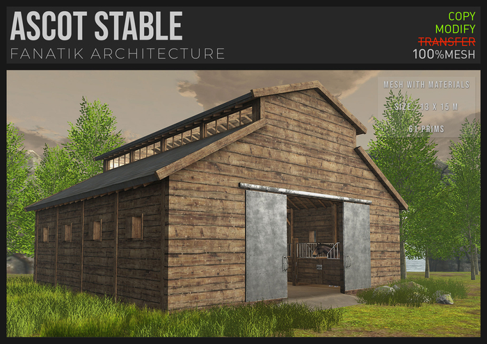 :Fanatik Architecture: ASCOT STABLE – horse stable/barn (mesh with materials)