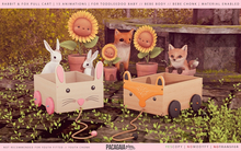 Pacagaia Kids - Rabbit & Fox Pull Cart -ADD-