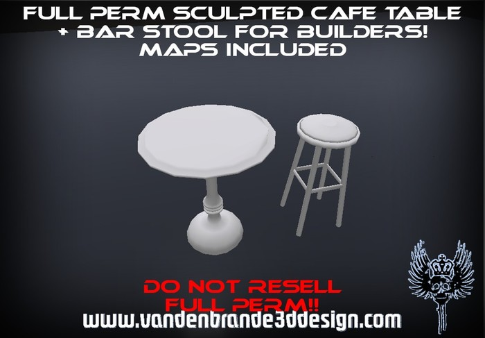 ~Free! Full perm sculpted cafe bar stool and table + maps! 1 prim each Only on the marketplace!