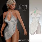 Glitter Katia Fitmesh high slit dress White