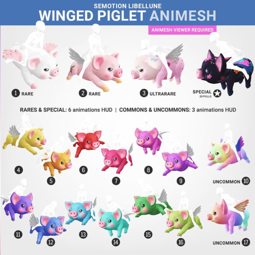 SEmotion Libellune Winged Piglet Animesh #10 UNCOMMON