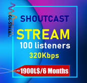 Shoutcast Server 100 listeners 6 Months 320 kbps High Quality stream renewable